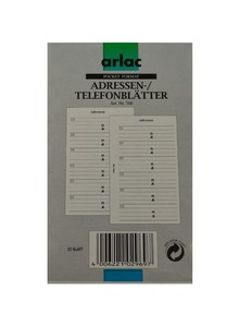 ARLAC Adress-/Telefonblätter 760
