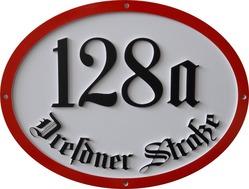 Historische Hausnummerntafel oval 320 x 245 mm