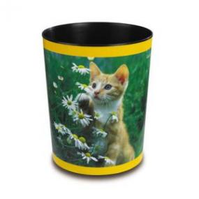 Läufer Motiv-Poster Papierkorb Katze mit Blume 26653