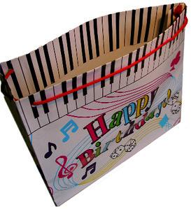 Geschenktasche mit Aufdruck Happy Birthday und Klaviertasten