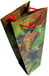 Geschenktasche für Weinflaschen mit aufgedruckten Weinblättern