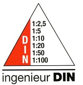 Maßangaben für Dreikantmaßstab Ingenieur DIN