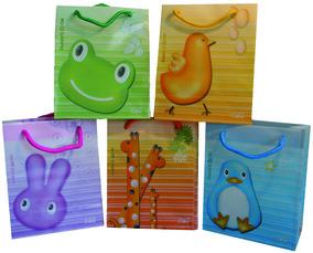 Geschenktaschen mit lustigen Tiermotiven in verschiedenen Farben