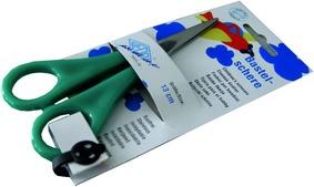Bastelschere für Kinder mit türkisem Griff in Kartonverpackung