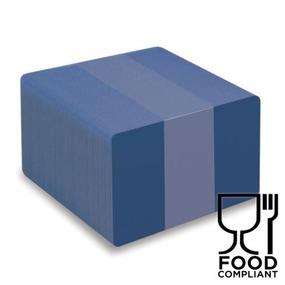 100 Stk. EVOLIS Plastikkarten blau, Lebensmittelzertifiziert