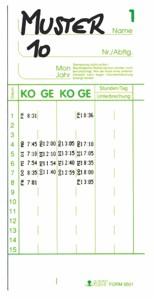 100 Stk.AMANO Stempelkarte F 9501
