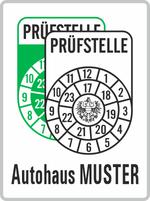 Plakette grün-weiß mit Wunschtext;